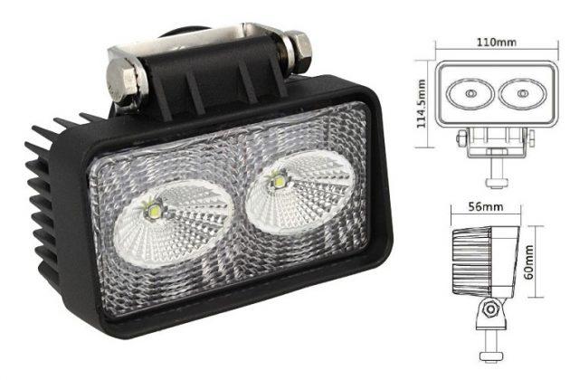 Rectangular Daylight Worklight LED Lamp 2x10W 01