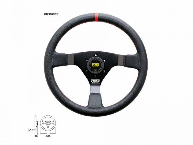 Volante WRC - ø 350mm Razze Nere Pelle Liscia Nera con Cuciture Rosse