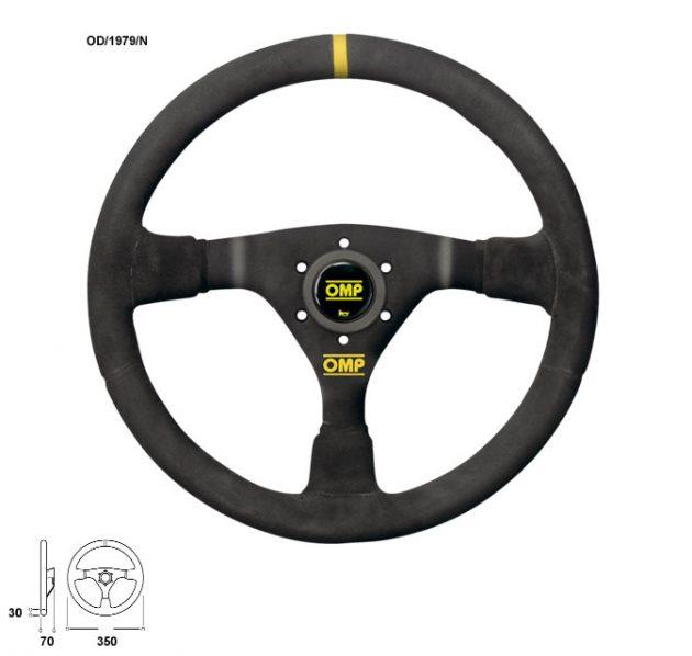 Volante WRC - ø 350mm Razze Nere Pelle Scamosciata con Cuciture Nere