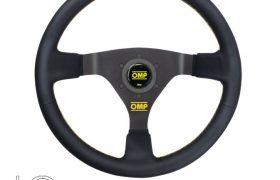 Volante WRC - ø 350mm Razze Nere Pelle Liscia Nera con Cuciture Gialle